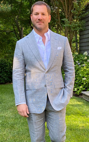 Blue/White Linen Glen Check Suit