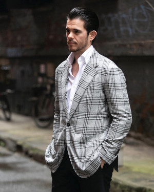 Bespoke Bold Black and White Check Sport Coat
