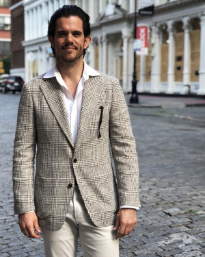 MTM Brown/Cream Textured Check Wool/Cotton Sport Coat