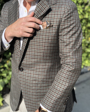 Bespoke Natural Green Plaid Sport Coat
