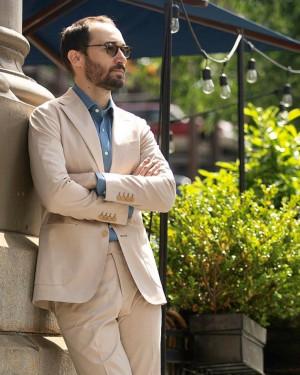 MTM Beige Stretch Cotton Suit