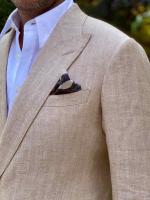 Tan Herringbone Linen Bespoke Sport Coat