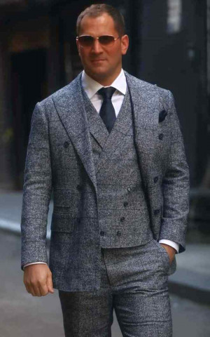Mottled Blue/White Check Flannel Suit