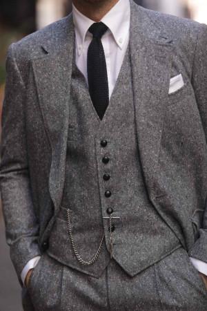 Light Grey/Black Donegal Suit