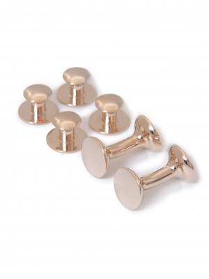 Round Rose Gold Stud and Cufflink Set