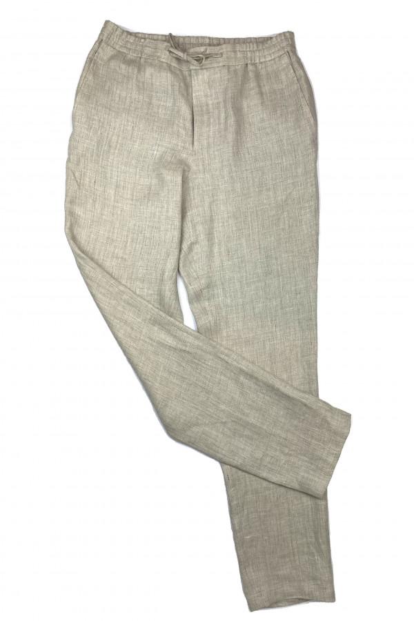 Tan Linen Elastic Waist Pants