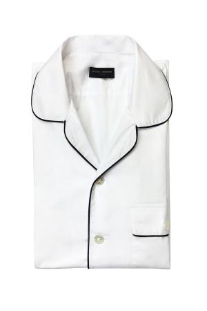 White Poplin Short Sleeve Pajama-Style Shirt