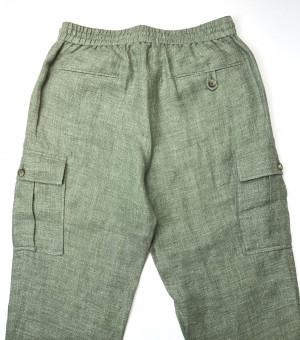 Green Linen Elastic Waist Cargo Pants