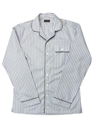 Light Blue and Blue Stripe Easy Care Poplin Pajama Shirt