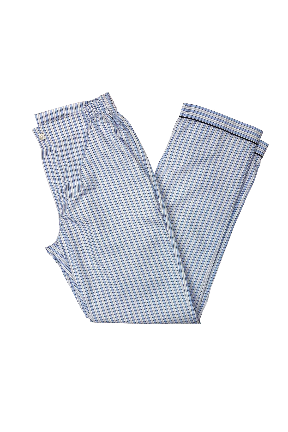 Light Blue and Blue Stripe Easy Care Poplin Pajama Pants