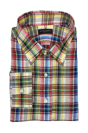 Multi-Colored Check Linen Sahara Shirt