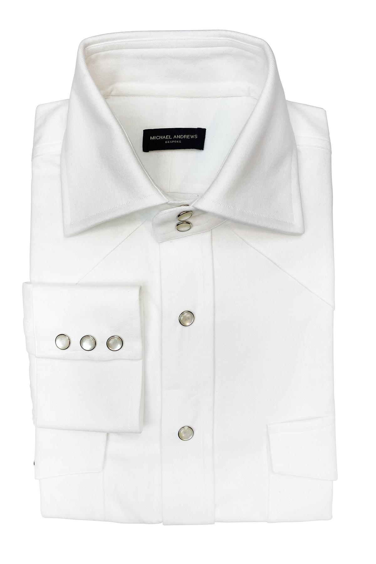 White Heavyweight Denim Western Shirt