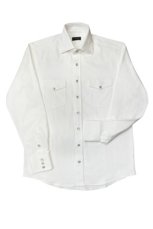 White Heavyweight Denim Western Shirt