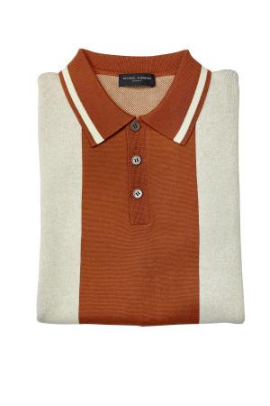Coffee Pima Cotton Retro Stripe Knit Pullover