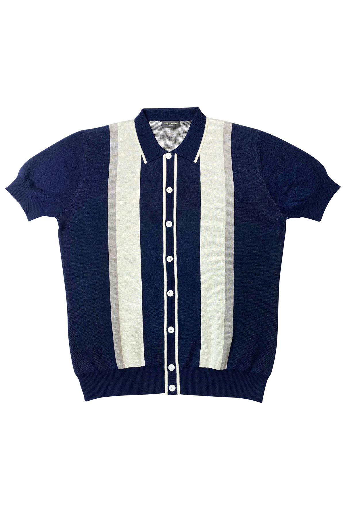 Navy Pima Cotton Knit Retro Stripe Buttondown