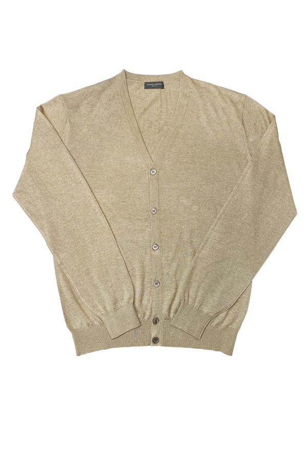 Mink Colored Silk Cashmere 7-Button Cardigan