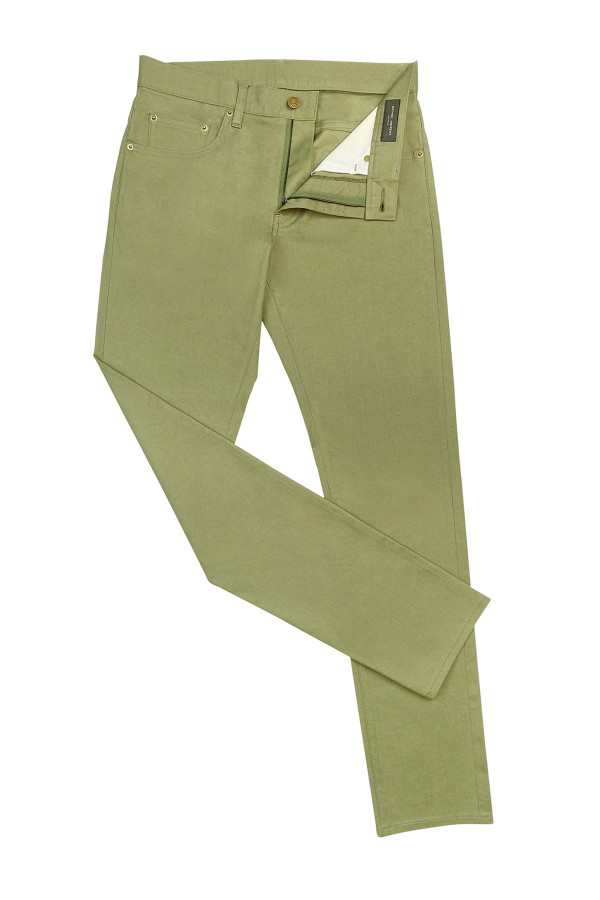 Olive Green Stretch Cotton Jeans