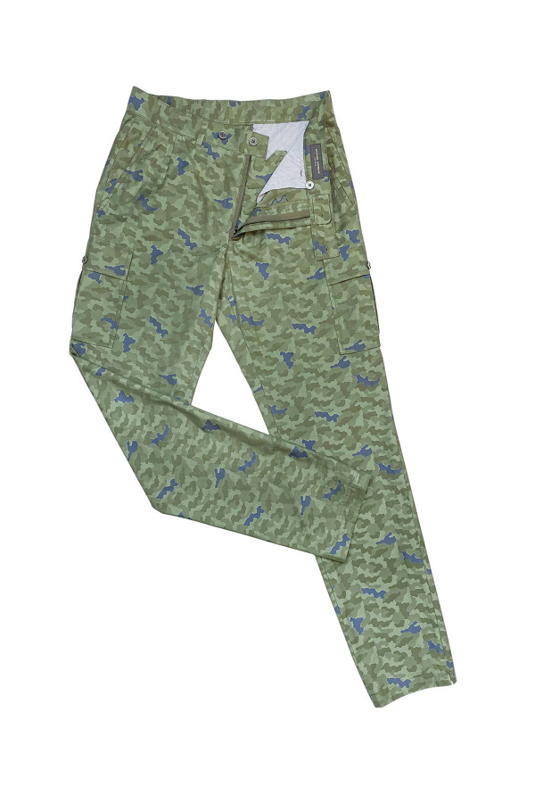 Green Camo Cotton Cargo Pants
