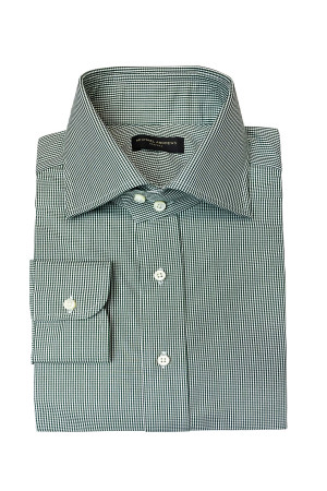 Green Check Easy Care Poplin Dress Shirt