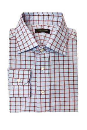 Light Blue and Red Check Easy Care Poplin Dress Shirt