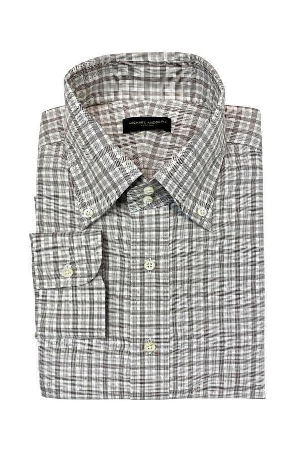 Brown Check Easy Care Twill / Dobby Dress Shirt