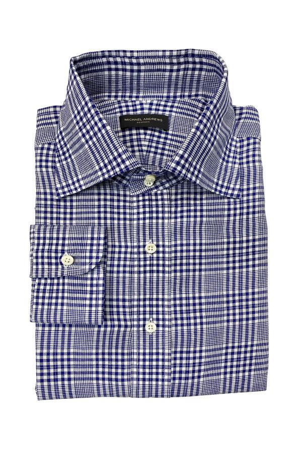 Navy Glen Check Linen Dress Shirt