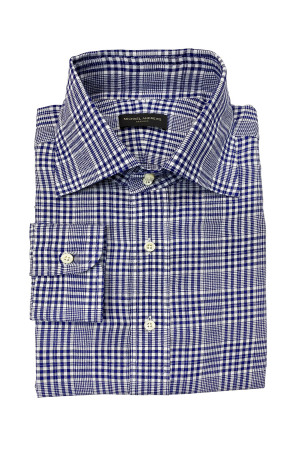 Navy Glen Check Linen Dress Shirt