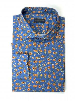 Blue and Orange Floral Shirt