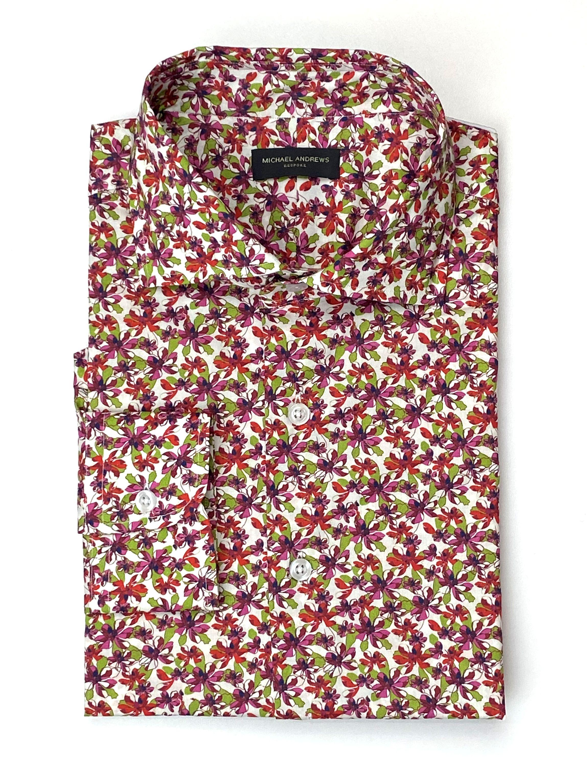 Green and Fuchsia Floral Print Shirt