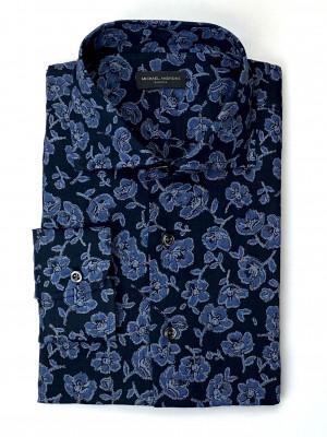 Dark Blue & Navy Plain Weave Wallpaper Print Casual Shirt