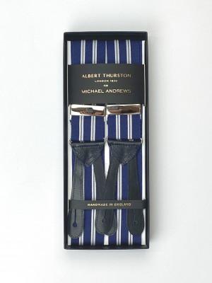 Blue & White Rep Stripe Suspenders (Short)