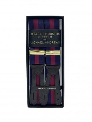 Navy & Red Awning Stripe Suspenders (Short)