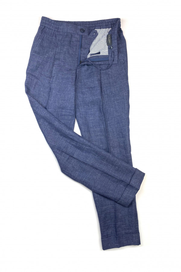 Dark Blue Linen Elastic Waist Pants