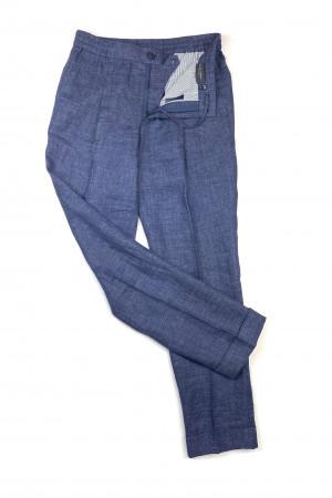 Dark Blue Linen Elastic Waist Pants