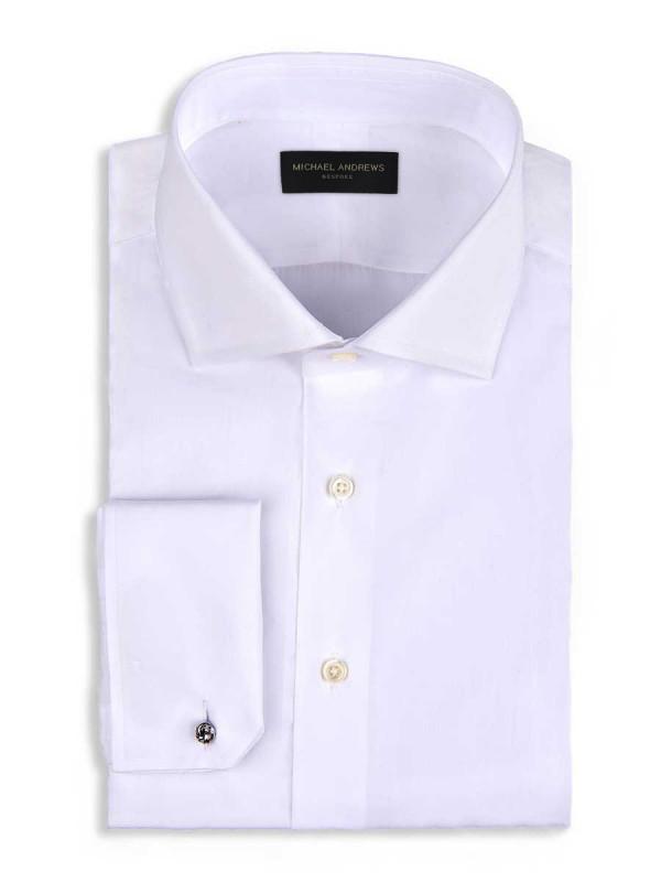 White Poplin Spread Collar Shirt