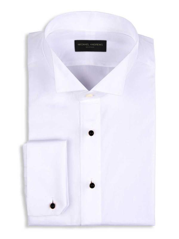 White Poplin Stud Front Tuxedo Collar Formal Shirt