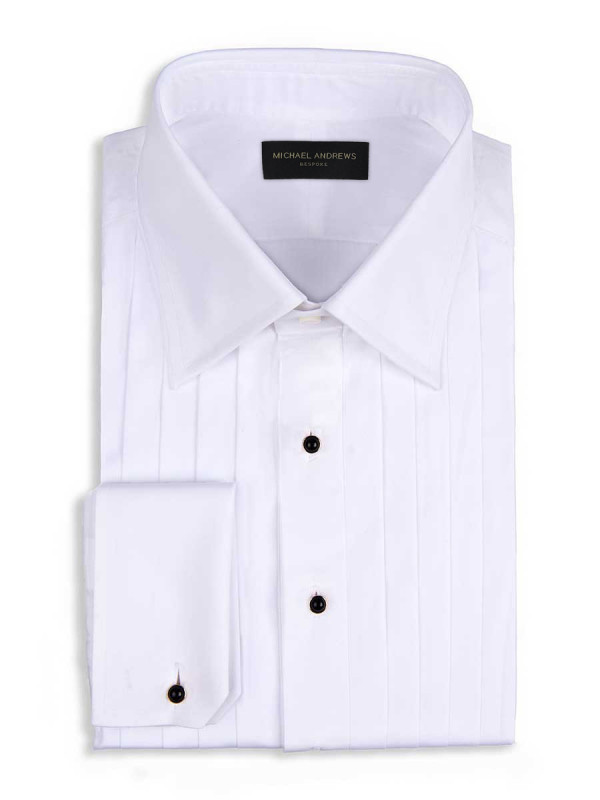 "White Poplin 3/4"" Pleats Classic Collar Formal Shirt"
