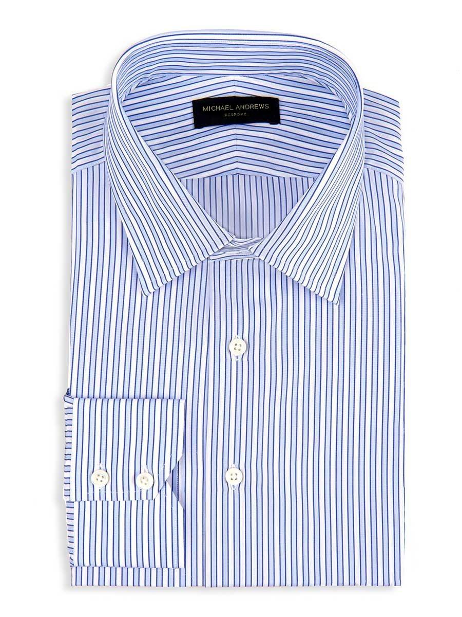 Blue Tonal Complex Stripe Classic Collar Shirt