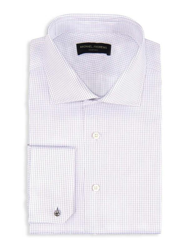Grey Textured Micro Check Spread Collar Shirt