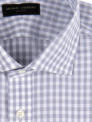 Grey Textured Gingham Spread Collar Shirt