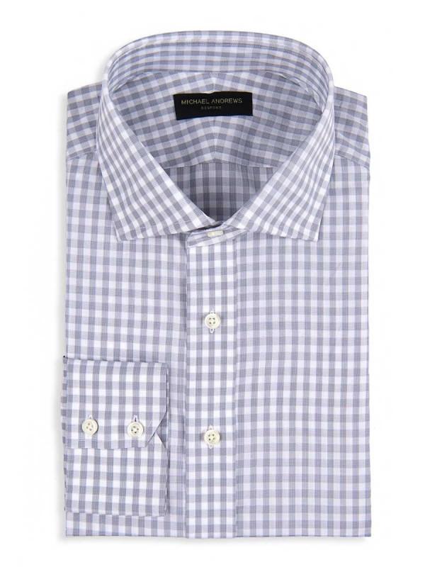 Grey Textured Gingham Spread Collar Shirt