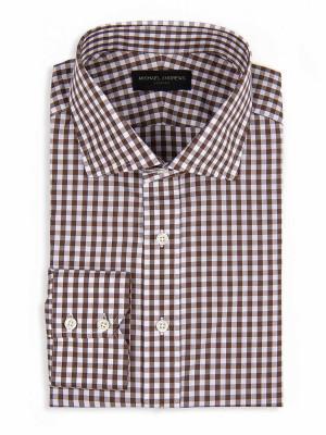 Brown Gingham Spread Collar Shirt