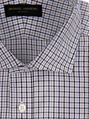 Charcoal & Tattersall Spread Collar Shirt