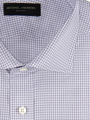 Grey Textured Micro Gingham Spread Collar Shirt