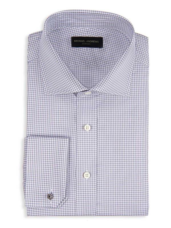 Grey Textured Micro Gingham Spread Collar Shirt