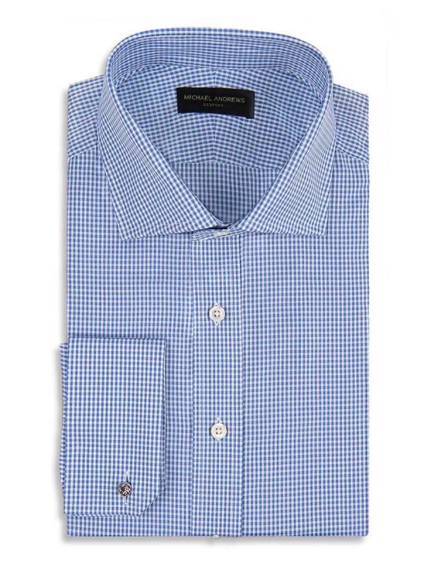 Blue Textured Micro Gingham Spread Collar Shirt