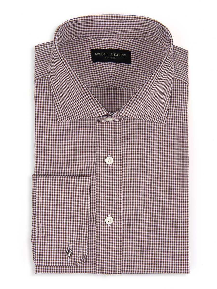 Brown Textured Micro Gingham Spread Collar Shirt