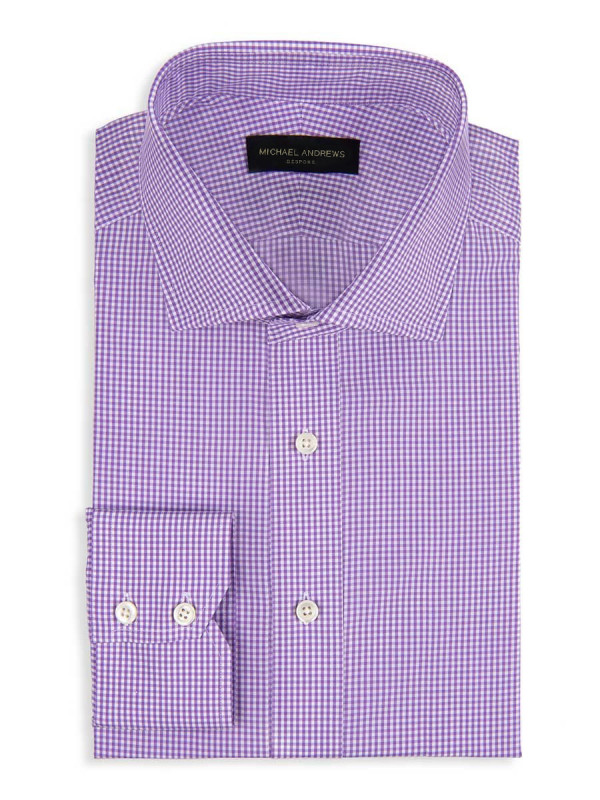Purple Micro Gingham Spread Collar Shirt