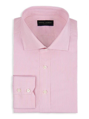 Pale Pink Micro Gingham Spread Collar Shirt