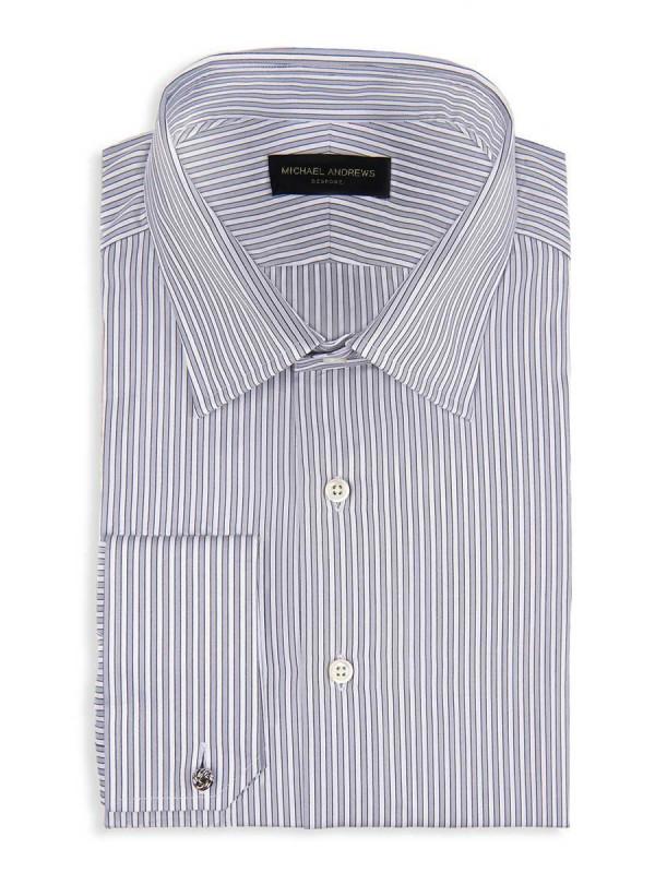 Ice Grey Twill Complex Stripe Classic Collar Shirt